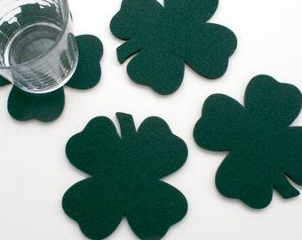 Shamrock Drink Coasters St. Patrick's Day Saint Patty's Day Four Leaf Clover Barware Irish Decor 5mm Thick Wool Felt Barware