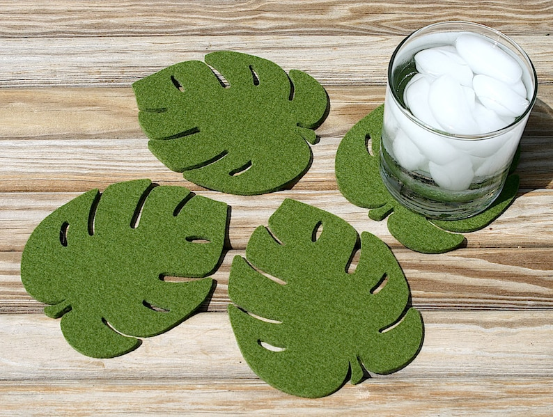 Palm Leaves Tropical Decor Botanical Monstera Leaf Wool Felt image 0