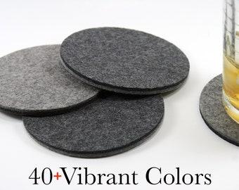 Round Merino Wool Felt Coasters for Drinks, Environmentally Friendly Coaster Set, Absorbent Coasters, Housewarming Gift