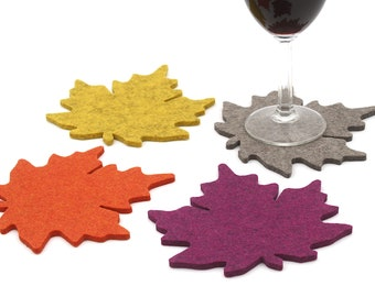 Fall Leaves Coasters Thanksgiving Table Decor Autumn Leaf Drink Coaster Set 5mm Thick Wool Felt