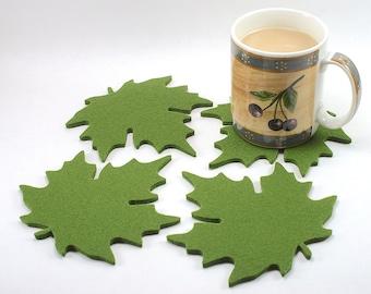 Maple Leaf Wool Felt Coaster Set