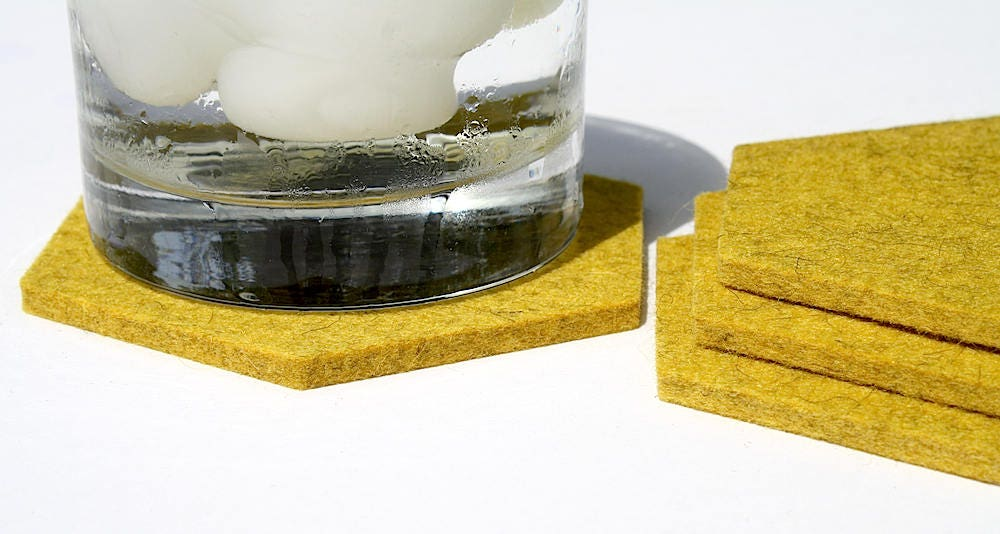 Table Coasters Yellow Cup Coaster Set In German Made Thick