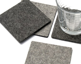 Modern Coasters Felt Coasters for Drinks Square Minimalist Drink Mat Table Coaster Set 5mm Thick Wool  sc 1 st  Etsy & Thick felt coasters | Etsy