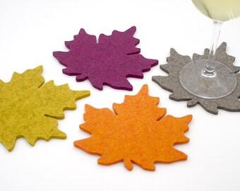 Merino Wool Felt Maple Leaf Coasters Thanksgiving Table Decor 5mm Thick Coaster Set