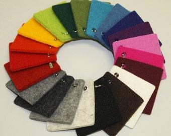 Set of 5 colors- 3mm Swatches - 100% Virgin Merino Wool Felt Samples