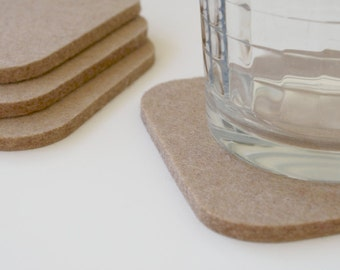 Square Felt Coasters in 5mm Thick Virgin Merino Wool Felt- Sahara