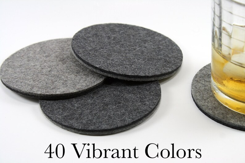 Round Coasters Wool Felt Contemporary Drink Coasters 5mm image 0