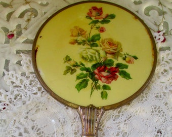 Gorgeous Vintage Hand Held Mirror with Roses