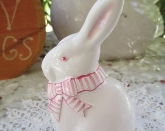 Cute Haldon Group Ceramic Rabbit/Bunny/Pink Striped Ribbon Bow 1990
