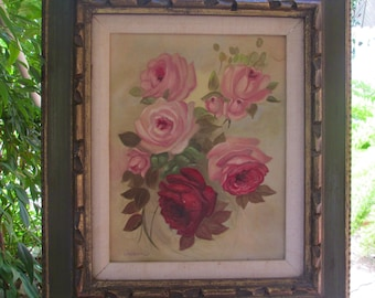 Vintage Oil Rose Painting with Frame