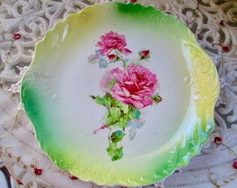 Vintage Thomas Sevres Beautiful Rose Plate Ca. 1900 to 1908
