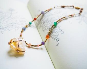 Citrine pendant necklace,Mixed Gemstone Necklace, Colourful Gemstone Necklace, Amethyst, Labradorite, Carnelian, Aquamarine, Rose Quartz