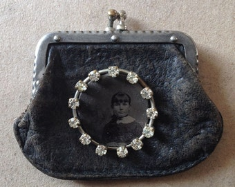 Antique victorian black leather change purse with a rhinestone framed tintype
