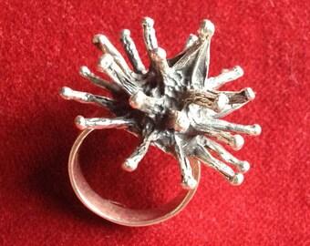 Silver sterling spike ring, steampunk, modernist, brutalist