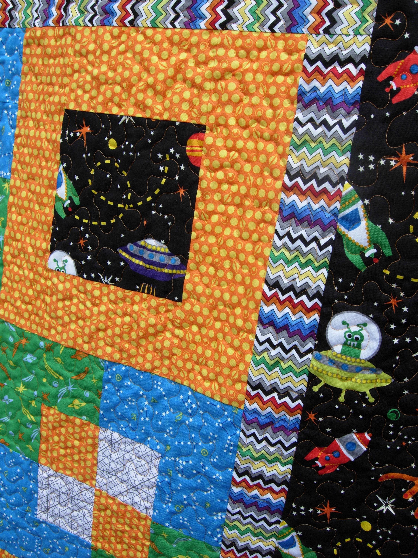 SALE****Blast Off Twin Bed Boy Quilt, Little Rocket Man Space Quilt, Toddler Boy Quilt, Boy Quilt, Twin Size Quilt