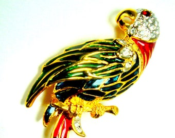 Military Macaw LARGE PARROT Pin, Colorful Enamels and Rhinestones Fancy Bird Brooch,  a Parrot Lovers Fun Gift