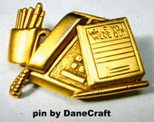 DANECRAFT Secretary Office Worker Pin, Matte Gold Telephone, Pencils While You Were Out Pad Brooch, Signed