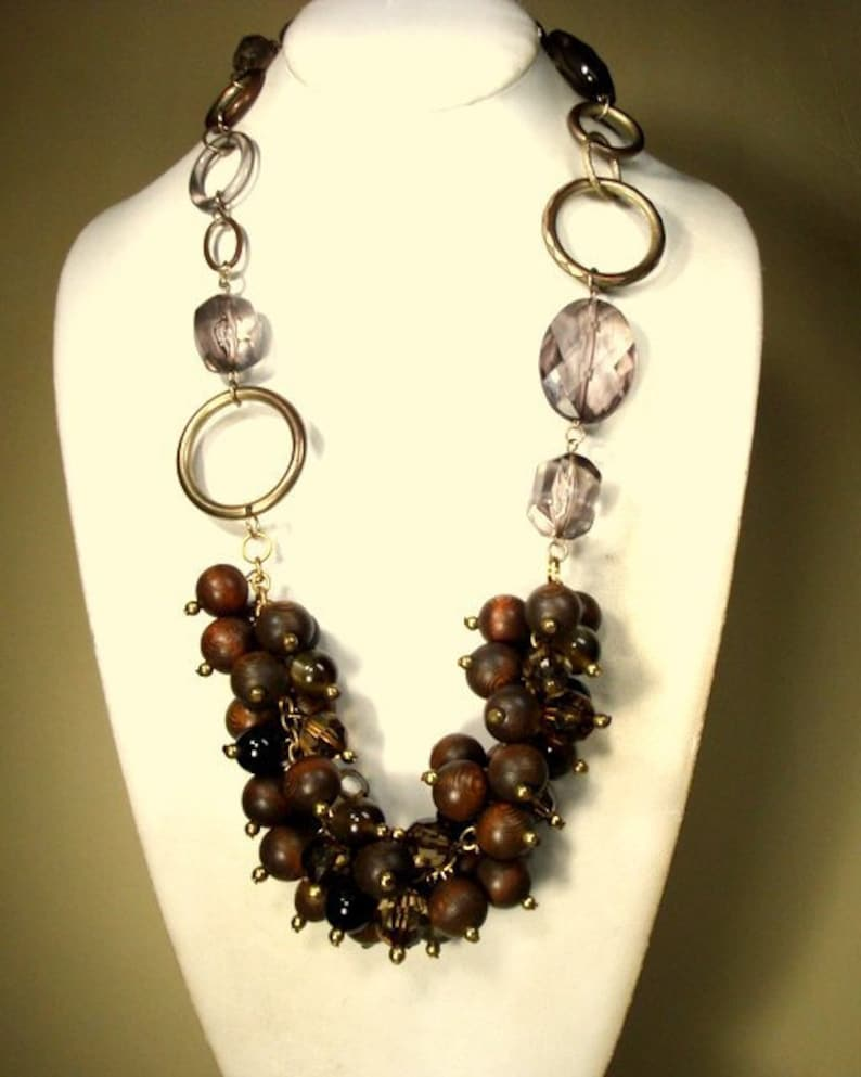 Recycled OOAK By Rachelle Starr Brown Wood Bead Cluster BIB Necklace On Brasstone Chain w Transparent Big Beads