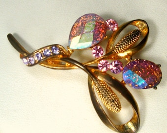 PINK Aurora Borealis Rhinestone Flower Pin, Lovely Gold and Glass Brooch for The Pink Lover, 1960s