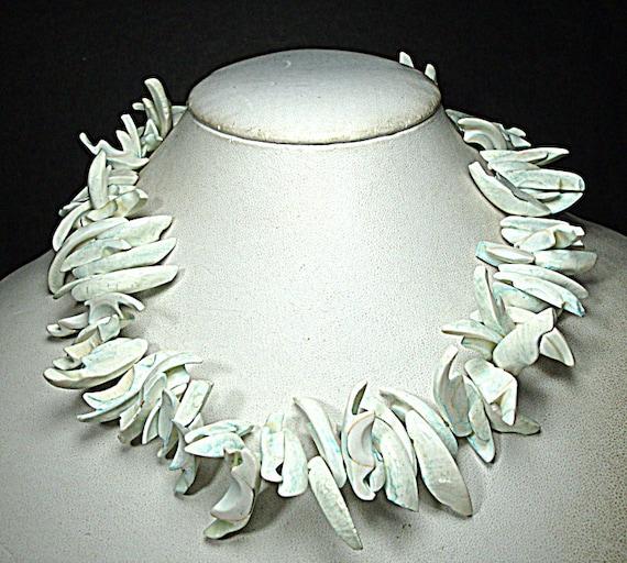 Shiny WHITE Spiked Seashell CHOKER Necklace, Wild