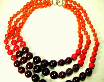 Dramatic 3 Strand Bead Necklace, Knotted Coral , Orange, Black & Eggplant Color Graduated Beads, Kjl  Catch, Elegant and Classy Statement
