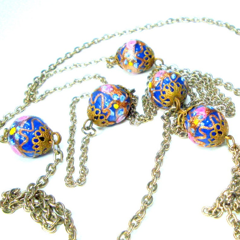 Wedding Cake Beads /& Very Long Chains Very Antique Tassel Flapper Necklace VENICE Italy Cobalt Blue Murano Glass Tassel Necklace c 1920s