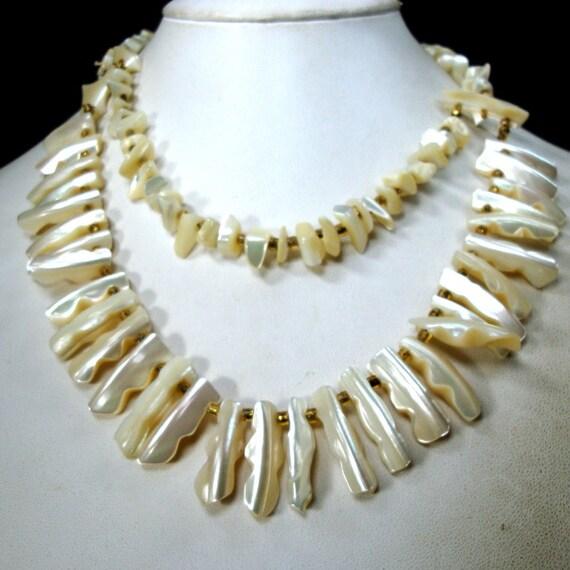 Shiny WHITE Spiked Seashell CHOKER, 1960s 2 Strand