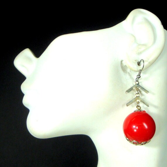 SALE, MOD Red Ball Dangle Earrings, 1960s Long Bon