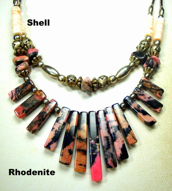 36 Inch Southwestern Double Strand Multi-Gemstone Necklace with Earrings