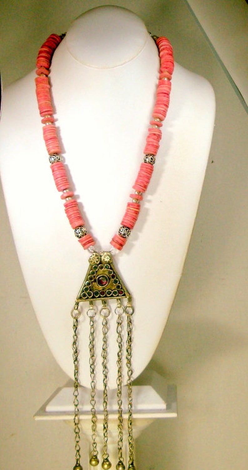 60s Kuchi Koochi Tribal Amulet OOAK Necklace by Rachelle Starr VERY Long Metal Fringes w Peach Ceramic Disc Beads /& Silver Metal Accents