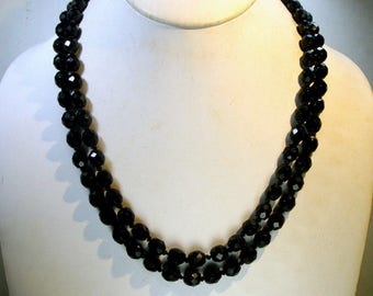 Knotted BLACK Faceted GLASS Bead Necklace,1960s, 2 Strands With Pretty Flower Catch, A Supple Classic Beauty, So Elegant