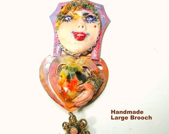 Handmade Artsy Face Pin, A Very Large Gypsy Fortune Teller Gal  Brooch, Certainly One of a Kind Assemblage
