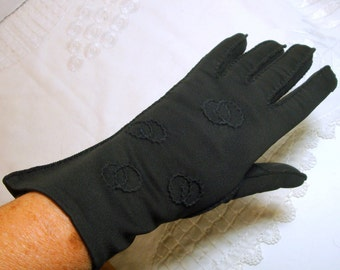 HANDMADE  BLACK Cotton Gloves, 1950s 1940s Mint, Handstitched, Circles, USA..Flares Out Over the Wrist, 6 and a half