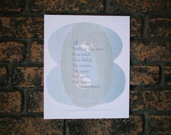 Fail Better Samuel Beckett Quote 3 Color Broadside Poster
