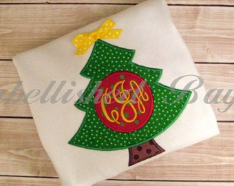Christmas Tree with Monogram Applique T-shirt or Onesie Bodysuit for Girls or Boys Personalized