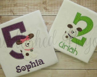 Personalized Appliqued Puppy Dog Birthday T-shirt for Boys or Girls