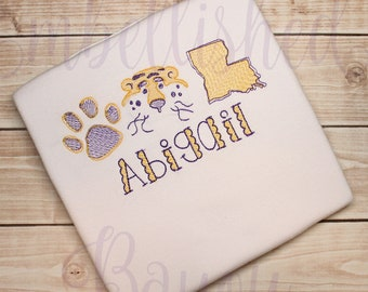 Louisiana Tiger Sketch Stitch Personalized Bodysuit or T-shirt for Girls or Boys Baby Toddler Infant