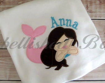 Mermaid Applique Ruffle T-shirt or Onesie for Girls Personalized