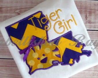 Louisiana Tiger Girl Applique Ruffle T-shirt for Girls