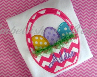 Easter Basket with Fringe Applique T-shirt for Girls or Boys Personalized