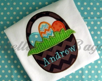 Easter Basket with Eggs Applique T-shirt for Girls or Boys Personalized