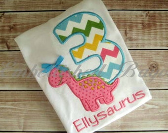 Personalized Appliqued Dinosaur Birthday T-shirt for Boys or Girls