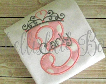 Birthday Number Applique with Princess Crown Ruffle T-shirt or Onesie for Girls Personalized