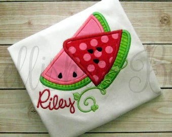 Watermelon Applique Ruffle T-shirt or Onesie for Girls Personalized