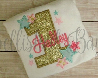 Gold Glitter Number Applique with Stars Personalized Birthday Ruffle T-shirt or Onesie for Girls