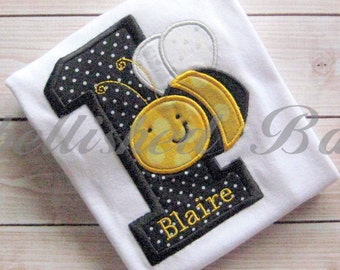 Bumble Bee Number Applique Personalized Birthday Ruffle T-shirt or Onesie for Girls
