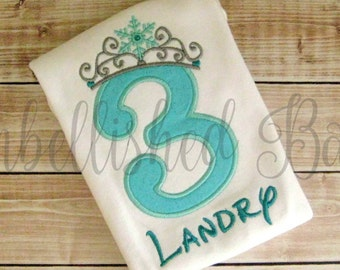 Birthday Number Applique with Ice Princess Snowflake Crown Ruffle T-shirt or Onesie for Girls Personalized