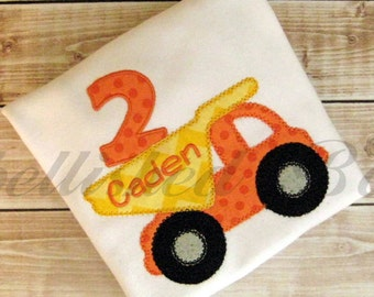 Personalized Appliqued Dump Truck Birthday T-shirt for Boys