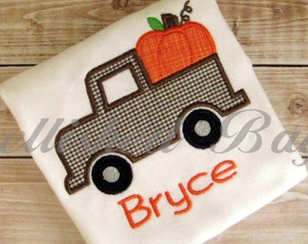 Fall Truck with Pumpkin Applique T-shirt or bodysuit Bodysuit for Girls or Boys Personalized