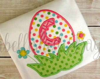 Easter Egg with Initial Applique Ruffle T-shirt or Onesie for Girls